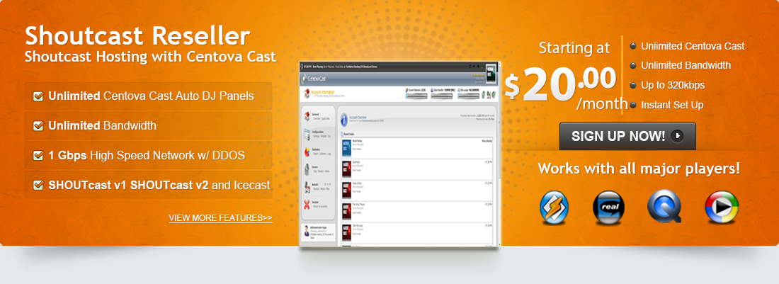 Shoutcast reseller accounts come equiped with SHOUTcast v1, SHOUTcast v2 and Icecast v2, INSTANT SET UP!