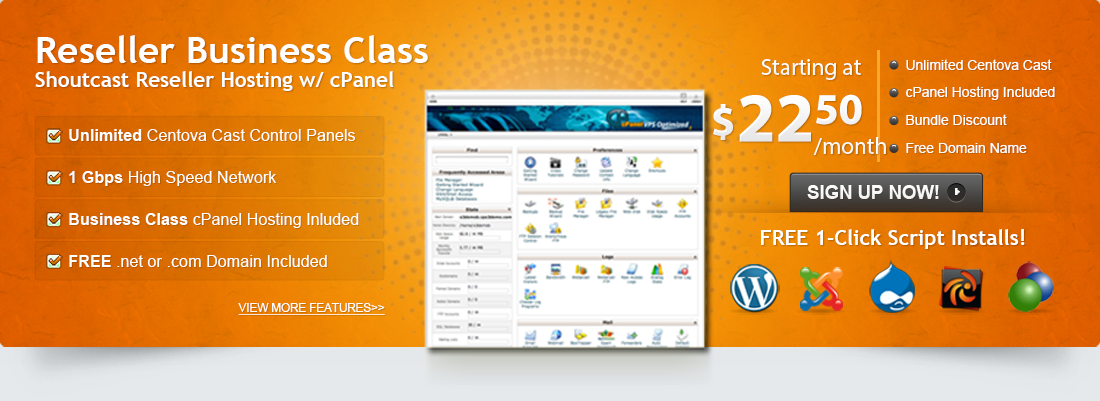 Our Business Class Package includes Shoutcast reseller hosting, cPanel website hosting and a FREE Domain!