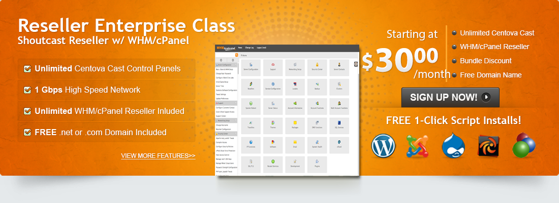 Our Enterprise Class Package includes Shoutcast reseller hosting, WHM/cPanel reseller hosting and a FREE Domain!
